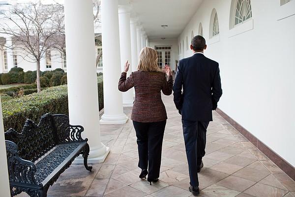President Obama Walks With Hillary Print by Everett