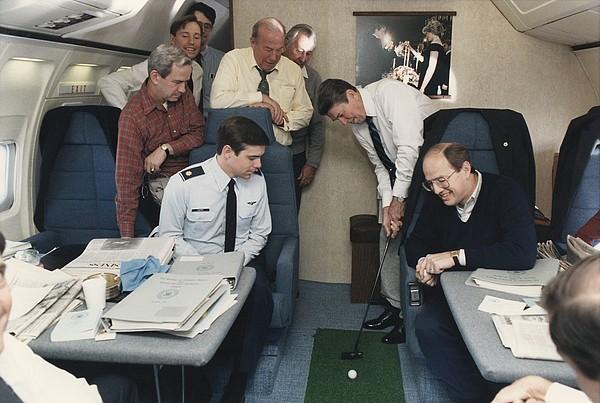 President Reagan Putting A Golf Ball Print by Everett