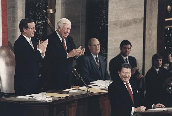 President Reagan Receives A Standing Print by Everett