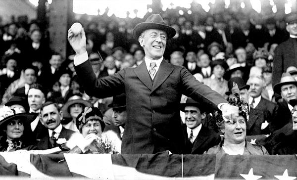 President Woodrow Wilson Throws Throws The First Pitch On Opening Day - C 1916 Print by International  Images