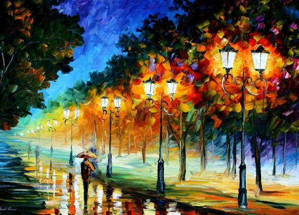 Prespective Of The Night Print by Leonid Afremov