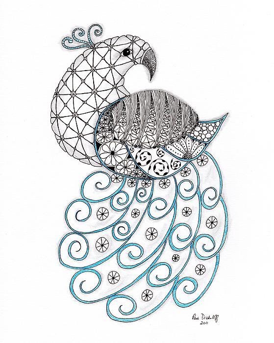 Pretty Peacock Print by Paula Dickerhoff