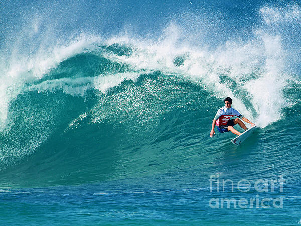 Pro Surfer Gabriel Medina Surfing In The Pipeline Masters Contes Print by Paul Topp