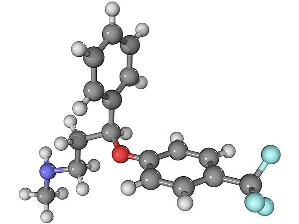 Prozac Antidepressant Molecule Print by Laguna Design