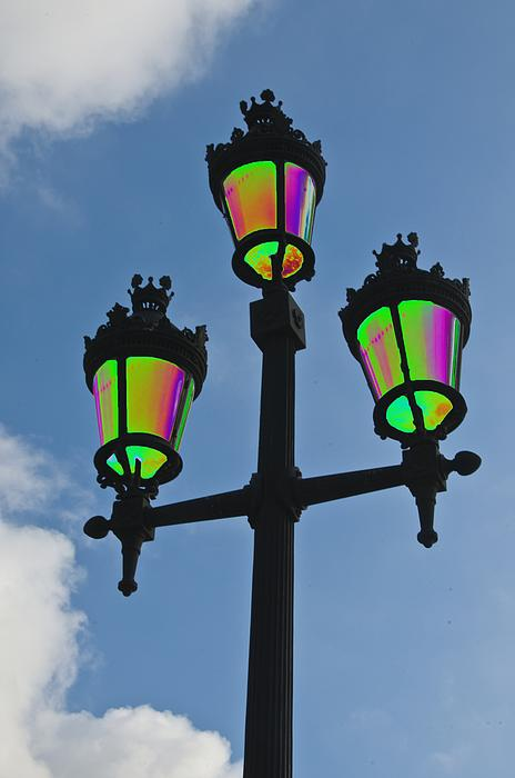 Psychedelic Streetlamps Print by Richard Henne