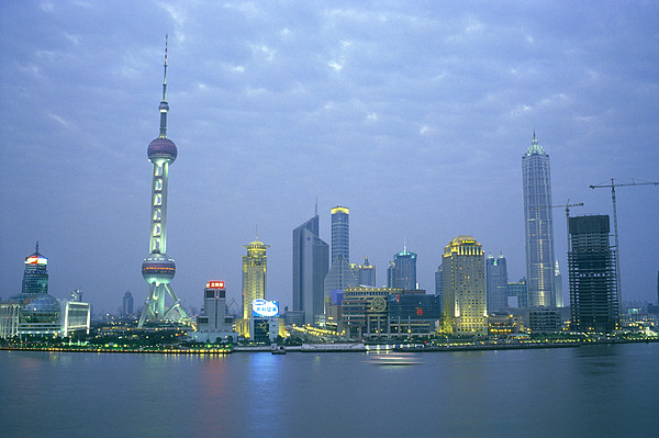 Pudong Skyline, Seen Print by Justin Guariglia