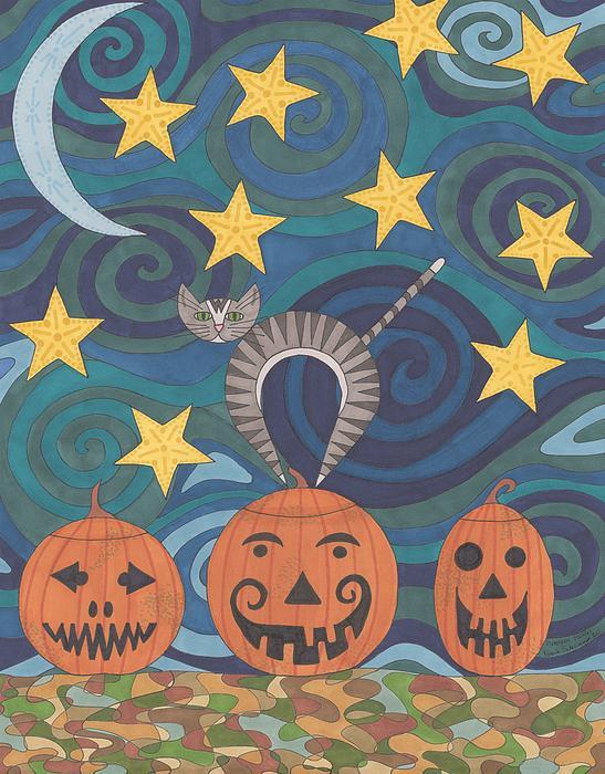 Pumpkin Perch Print by Pamela Schiermeyer