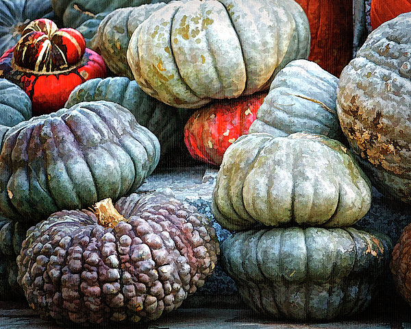 Pumpkin Pile II Print by Joan Carroll