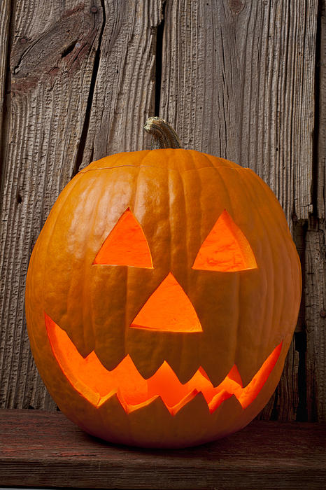 Pumpkin With Wicked Smile Print by Garry Gay