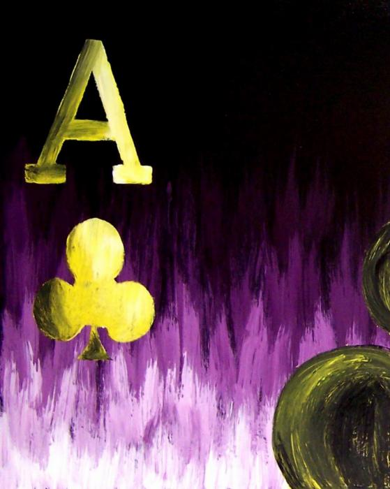 Purple Aces Poker Art1of4 Print by Teo Alfonso