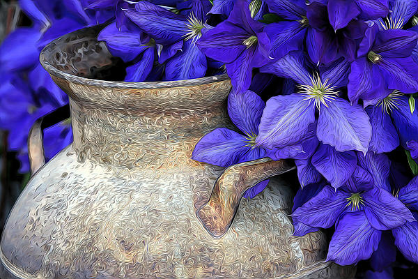 Purple Clematis And A Milk Can Print by James Steele