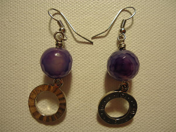 Purple Doodle Drop Earrings Print by Jenna Green