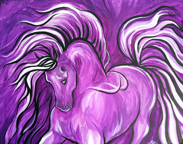 Purple Horse Print by Leni Tarleton