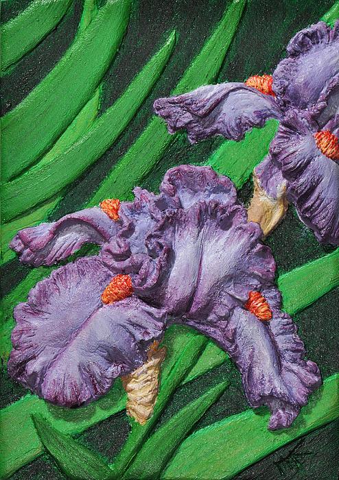 Purple Iris Flowers Sculpture Print by Valerie  Evanson