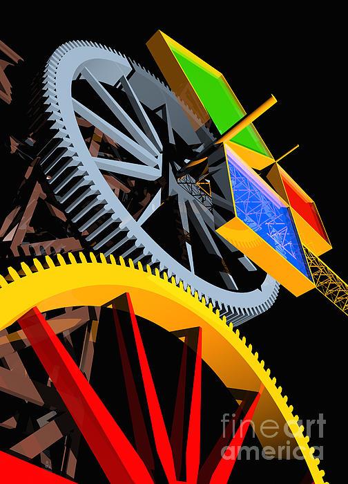 Pythagorean Machine Portrait 4 Print by Russell Kightley