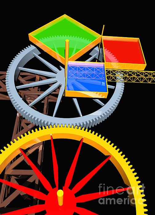 Pythagorean Machine Portrait 7 Print by Russell Kightley