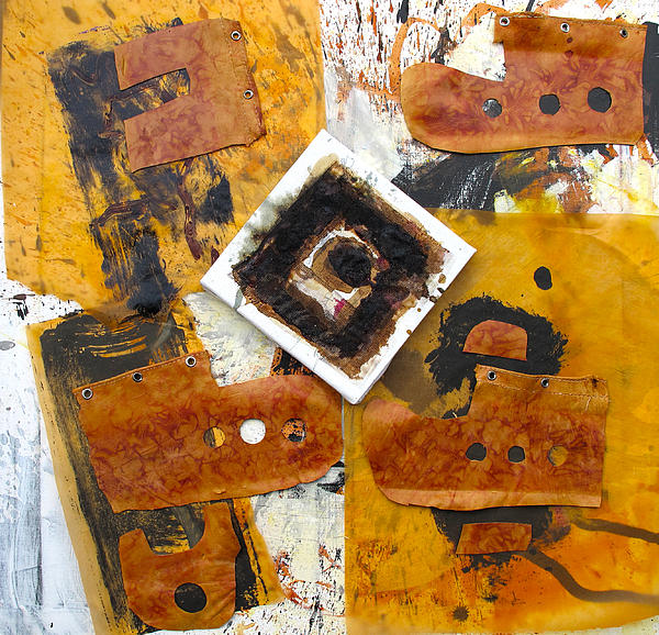 Quadrat On Orange Ground Print by Reiner Poser