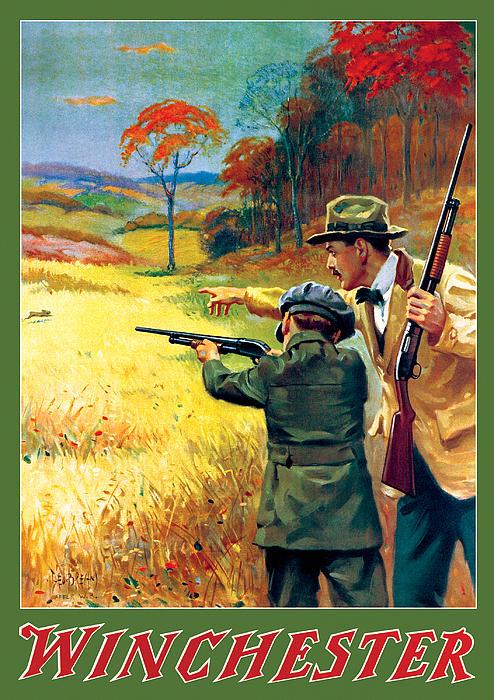 Rabbit Hunting Print by George Brehm