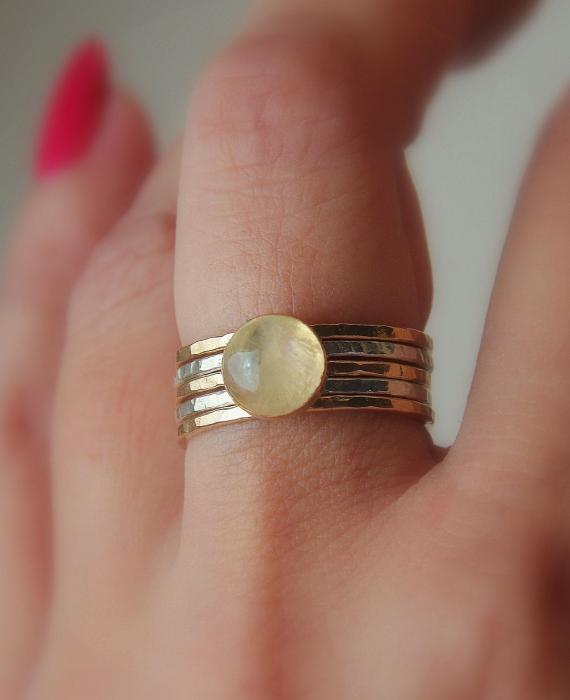 Radiating Moonstone Cabochon Sterling Silver And 14k Gold Filled Artisan Crafted Stackable Rings Print by Nadina Giurgiu