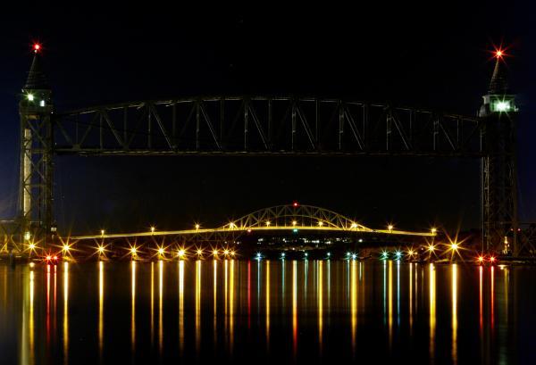Railroad And Bourne Bridge At Night Cape Cod Print by Matt Suess
