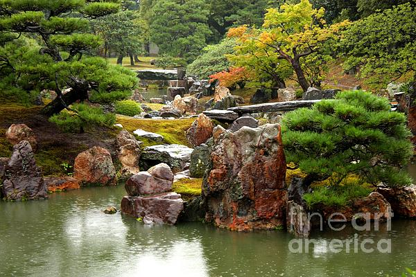 Rain On Kyoto Garden Print by Carol Groenen