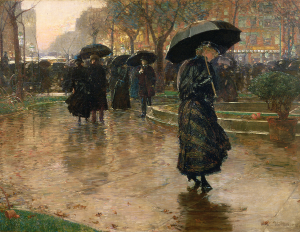 Rain Storm Union Square Print by Childe Hassam