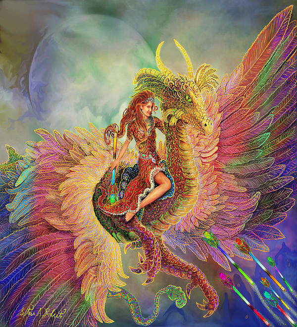 Rainbow Dragon Print by Steve Roberts