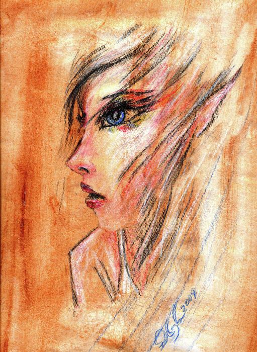 Rainbow Elf Girl Print by Ricardo Di ceglia