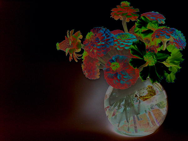Rainbow Flowers In Glass Globe Print by Padre Art