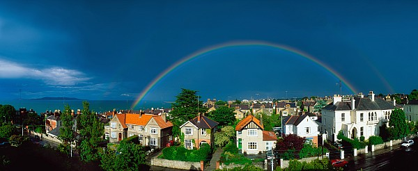 Rainbow Over Housing, Monkstown, Co Print by The Irish Image Collection