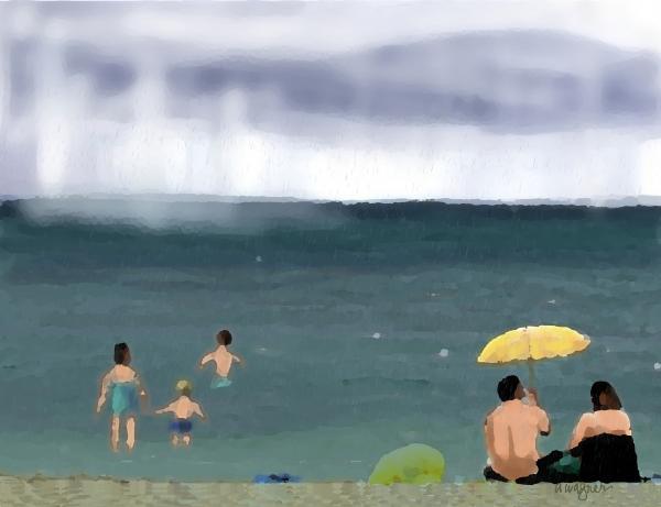 Rainy Beach Print by Arline Wagner