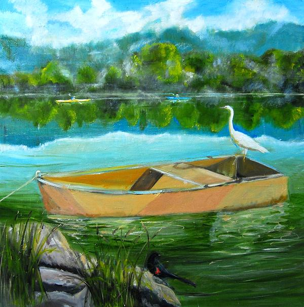 Rare Moment At Spring Lake Print by Terrence  Howell