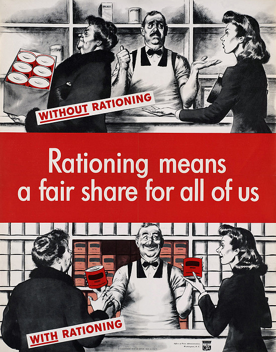 Rationing Means A Fair Share For All Print by Everett