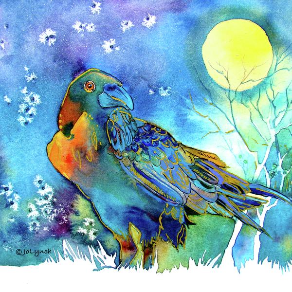 Raven Night Spirit Print by Jo Lynch