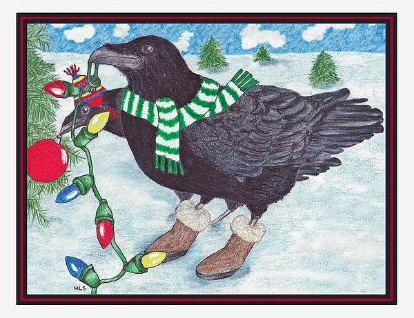 Ravens Holiday Print by Marla Saville