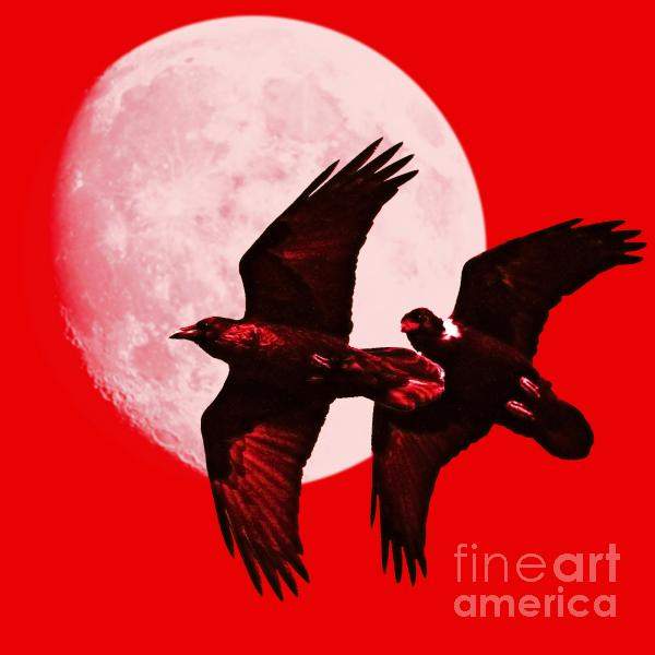Ravens Of The Moon . Red Square Print by Wingsdomain Art and Photography