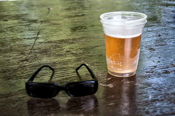 Raybans And A Beer Print by Bill Cannon