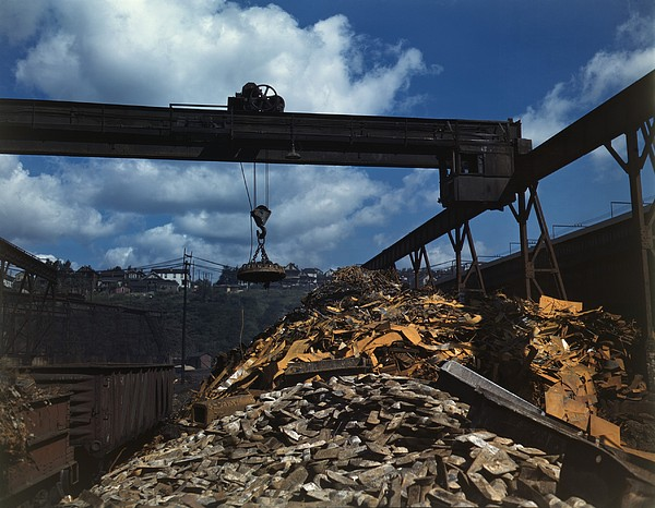 Recycling Scrap Steel During World War Print by Everett