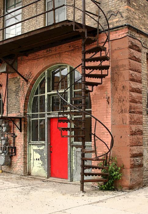 Red Alley Door Print by Steve Augustin