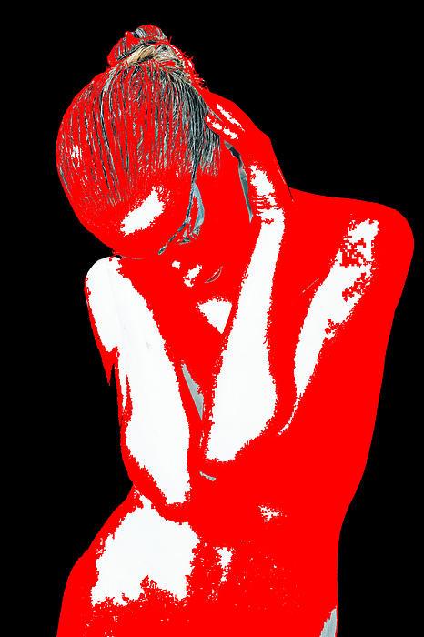 Red Black Drama Print by Naxart Studio