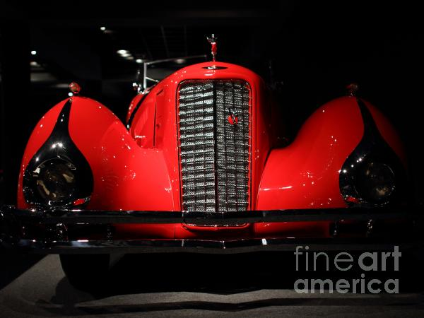 Red Cadillac Print by Transportation Photos