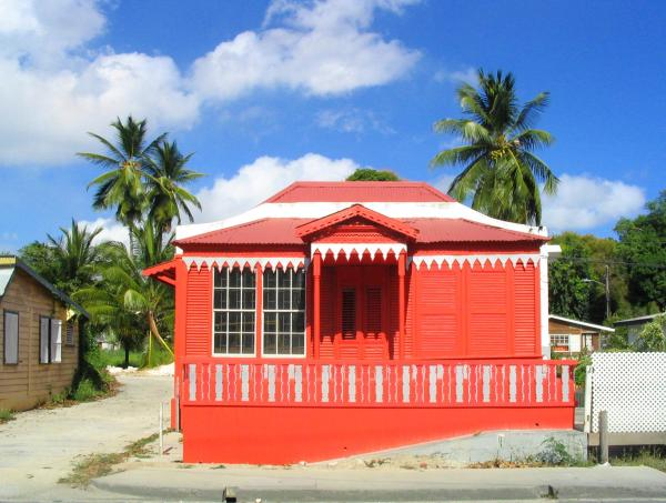 Red Chattel House Print by Barbara Marcus