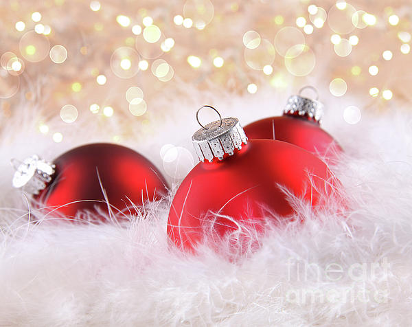 Red Christmas Balls With Abstract Background Print by Sandra Cunningham