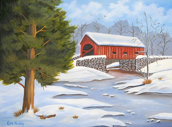 Ruth  Housley - Red Covered Bridge at Winter SOLD