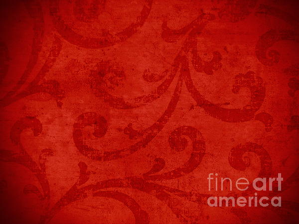 Red Crispy Oriental Style Decor For Fine Design. Print by Marta Mirecka