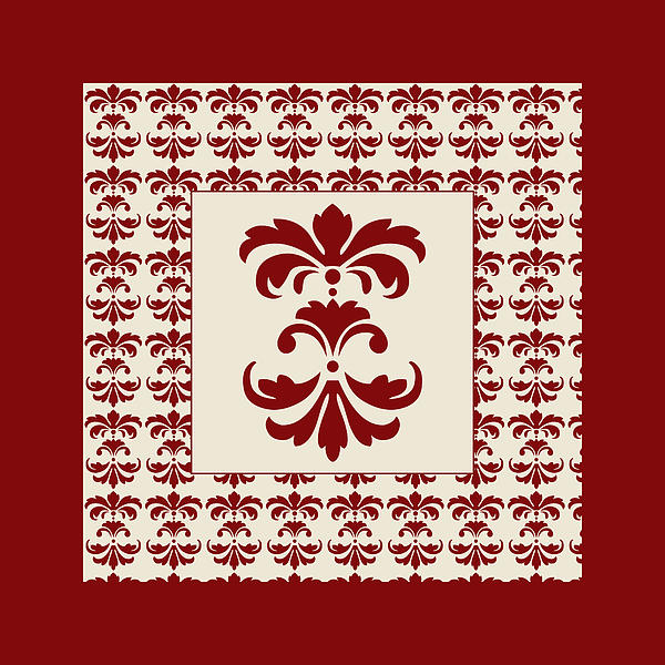 Red Damask Digital Art
