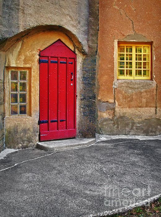 Red Door And Yellow Windows Print by Susan Candelario