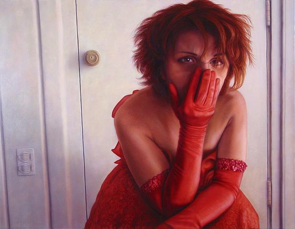 Red Dress Print by James W Johnson