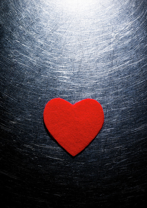 Red Felt Heart On Stainless Steel Background. Print by Ballyscanlon