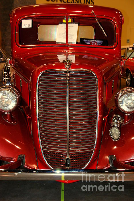 Red Ford Print by Susanne Van Hulst